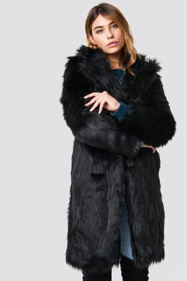 NA-KD Linn Ahlborg X Long Faux Fur Coat Black