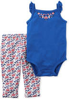 Carter's 2-Pc. Cotton Floral Bodysuit & Printed Pants Set, Baby Girls