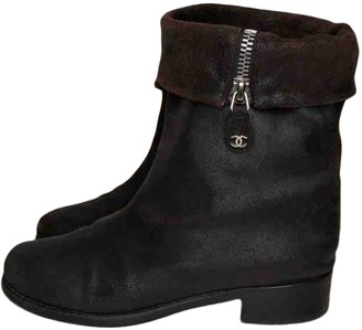 Chanel Brown Suede Ankle boots
