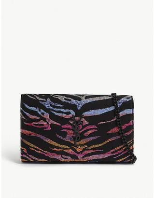 Saint Laurent Monogram lame tiger-printed wallet-on-chain