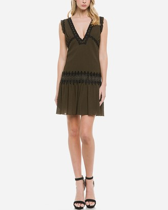 Express Endless Rose Deep V-Neck Lace Detail Sheath Dress