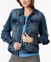 INC International Concepts I.N.C. Ruffled-Sleeve Denim Jacket, Created for Macy's