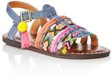 Sam Edelman Girls' Denim Look Embellished Sandals