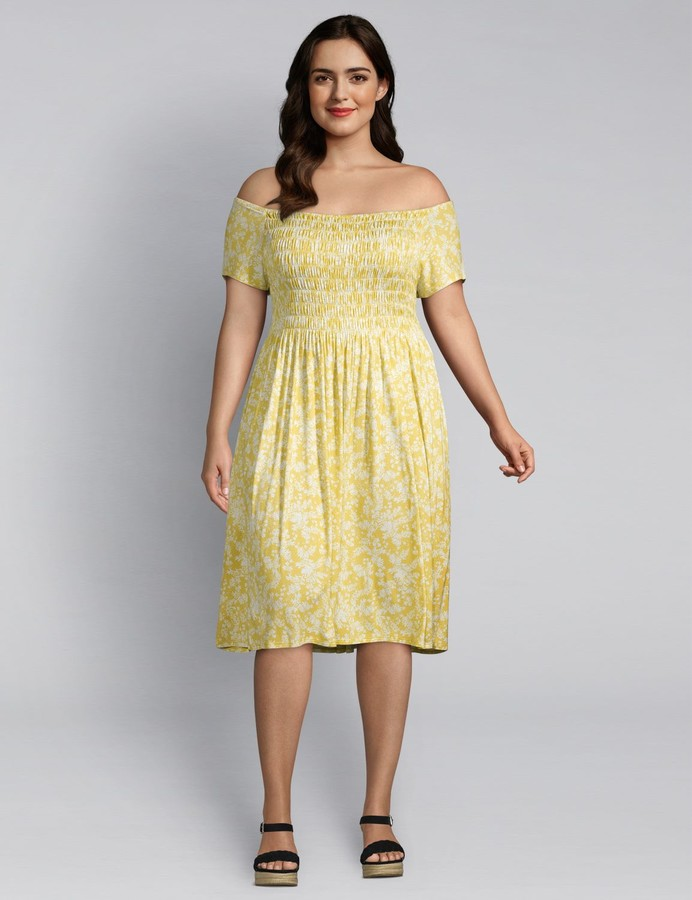 Lane Bryant Floral Shirred Swing Dress