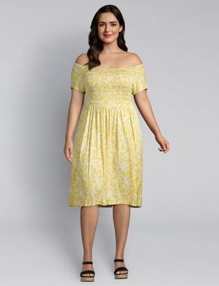 Lane Bryant Floral Shirred Swing Dress