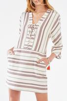 BCBGMAXAZRIA Striped Lace-Up Tunic