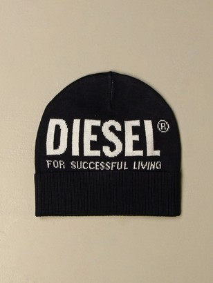 Diesel Beanie Hat With Big Jacquard Logo