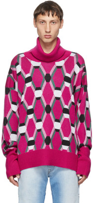 Random Identities Pink Wool Jacquard Sweater