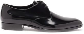 Saint Laurent Wyatt Patent-leather Derby Shoes - Black
