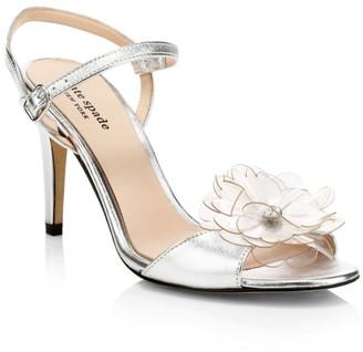 Kate Spade Giulia Flower-Embellished Metallic Leather Sandals