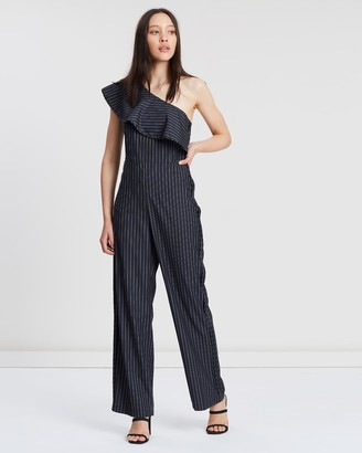 Apartment Clothing One-Shoulder Pinstripe Jumpsuit