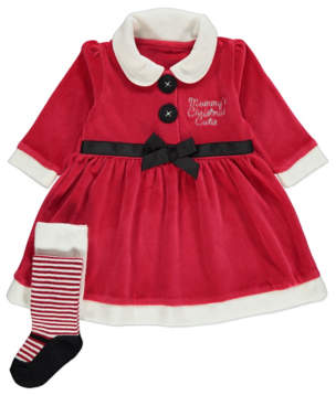 George Red Miss Santa Slogan Dress and Tights Christmas Outfit