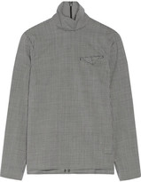 Facetasm Gingham Wool Turtleneck Top - Black