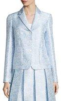 Michael Kors Button-Front Paisley-Print Jacket, Ice/White/Multi