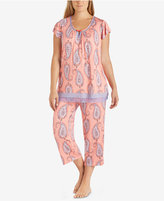 Ellen Tracy Plus Size Flutter-Sleeves Pleated Pajama Top