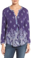 Lucky Brand Women's Print Knit Split Neck Top