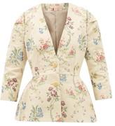 Brock Collection Floral-jacquard Cotton-blend Jacket - Womens - Ivory Multi