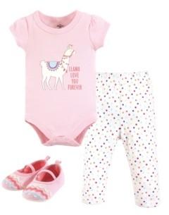 Little Treasure Unisex Baby Bodysuit, Pant and Shoes, Llama Love, 3-Piece Set, 3-6 Months (6M)