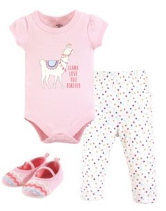 Little Treasure Unisex Baby Bodysuit, Pant and Shoes, Llama Love, 3-Piece Set, 6-9 Months (9M)