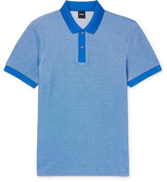 HUGO BOSS Waffle-Knit Cotton-Blend Polo Shirt