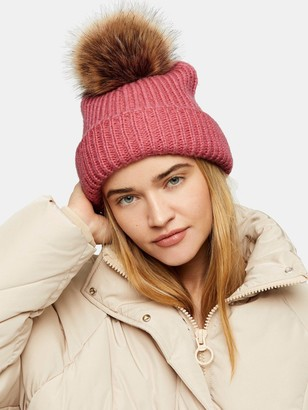 Topshop Recycled Faux Fur Pom Pom Hat - Pink