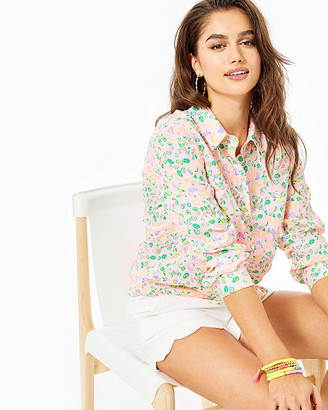 Lilly Pulitzer Sea View Linen Button Down Top