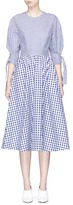 Rosetta Getty Tie sleeve open back gingham check shirting dress