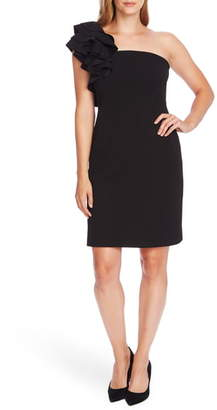 Vince Camuto Ruffle Detail One-Shoulder Crepe Sheath Dress