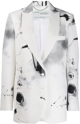 Off-White Abstract Print Single-Breasted Blazer