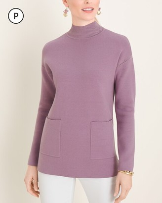 Chico's Petite Milano-Stitch Mock-Neck Pullover Sweater