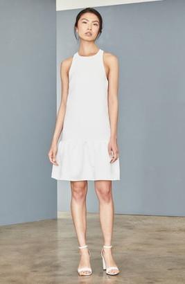 Amsale Ruffle Hem Faille Trapeze Dress