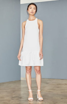 Amsale Ruffle Hem Faille Trapeze Dress