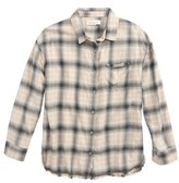 Treasure & Bond Girl's Raw Edge Plaid Shirt