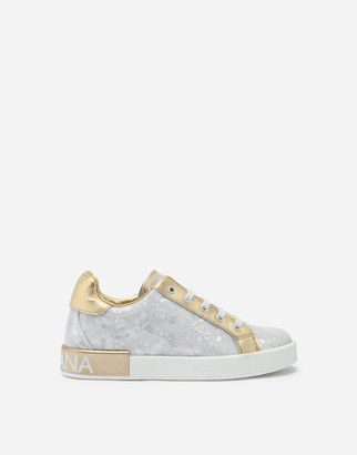 Dolce & Gabbana Patent Leather Mother-Of-Pearl Print Portofino Sneakers