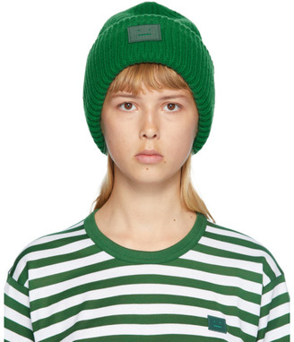 Acne Studios Green Rib Knit Patch Beanie