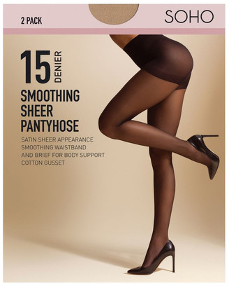 S.O.H.O New York 15D Smoothing Brief 2 Pack Pantyhose Tan
