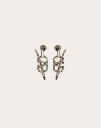 Valentino Vlogo Signature Metal Earrings Women Lead Brass 100% OneSize
