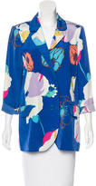 Tibi Floral Print Silk Blazer