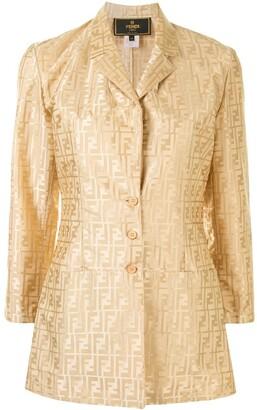 Fendi Pre Owned Zucca pattern single-breasted jacket