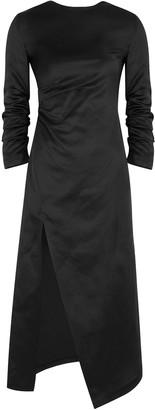 A.W.A.K.E. Mode Black Gathered Satin Midi Dress