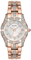 Bulova Ladies Rose Gold Crystal Watch