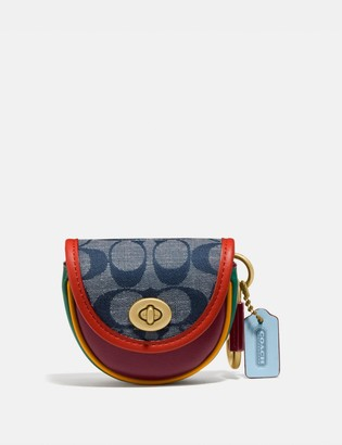 Coach Saddle Bag Charm In Signature Chambray