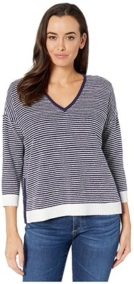 Lilla P 3/4 Sleeve Side Snap V-Neck Sweater (Navy/White) Women's Clothing