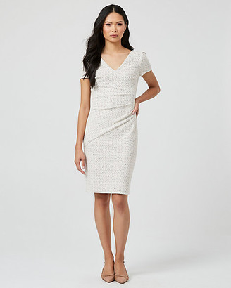 Le Château Double Knit Puff Sleeve V-Neck Dress