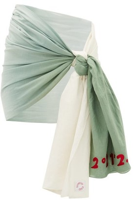 Kilometre Paris - Palm Springs Gradient Cotton-khadi Sarong - Green White