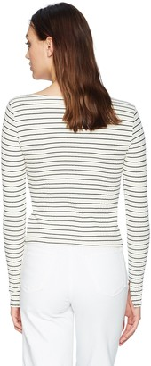 LAmade Women's Long Sleeve Boatneck Ribbed top