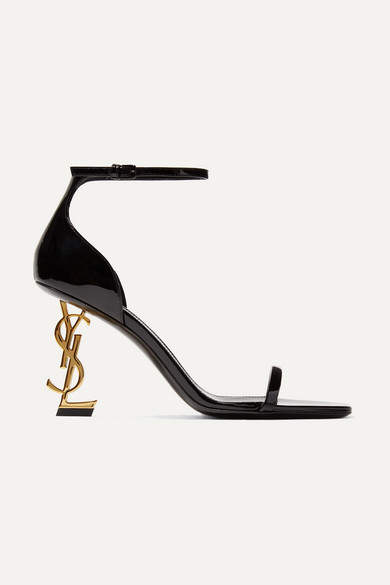 Saint Laurent Opyum Patent-leather Sandals - Black