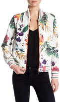 Bagatelle Perforated Tropical Printed Faux Leather Jacket