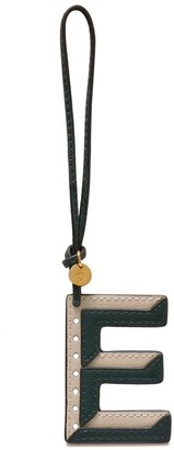 Mulberry Bi-Colour Leather Keyring- E Green and Chalk Silky Calf