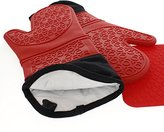 Number 1 Chef's Choice - Extra Long Silicone Oven Mitts With Trivet - Quilted Cotton Lined Silicone Kitchen Gloves - Heat Resistant Potholder Gloves - Set of 2 with Bonus Silicone Trivet - Elbee 642
